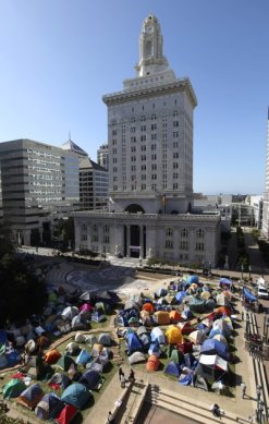 View of tents erected in front of Oakland City Hall as part of the Occupy Oakland protest Wednesday, Oct. 19, 2011, in Oakland, Calif.