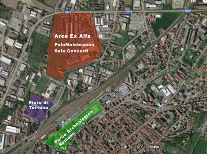 Piantina del progetto Parco Archeologico Romano, Fiera di Tortona e PalaMalabrocca