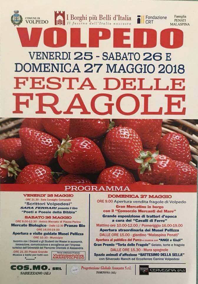 Il programma 2018 della festa della fragola a Volpedo