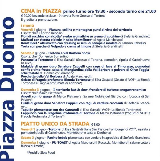 Assaggia Tortona 2018 tensostruttura di Piazza Duomo