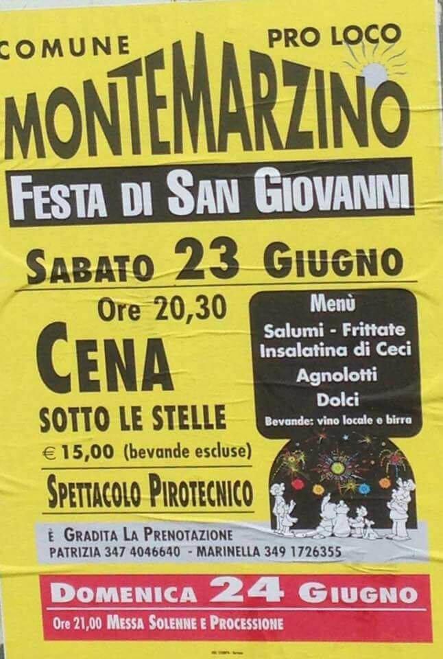 Programma della festa patronale di Montemarzino