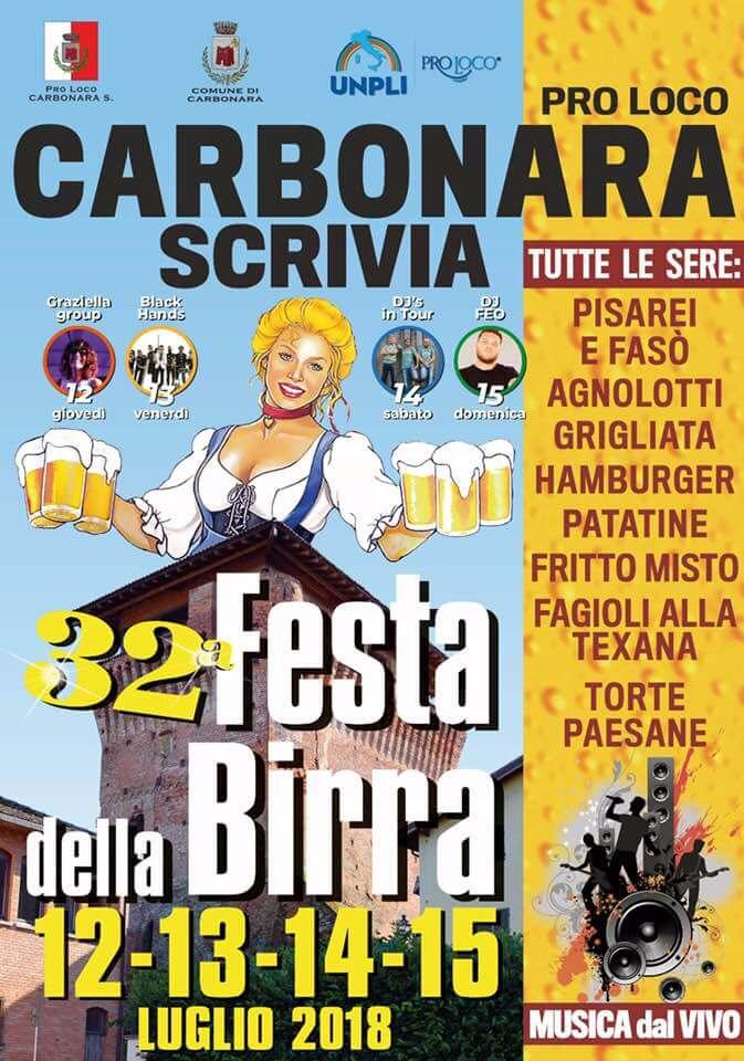 Da giovedì 12 a domenica 15 LUGLIO festa della birra