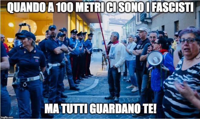 La meme di Tortona Oggi sul picchetto antifascista di Tortona