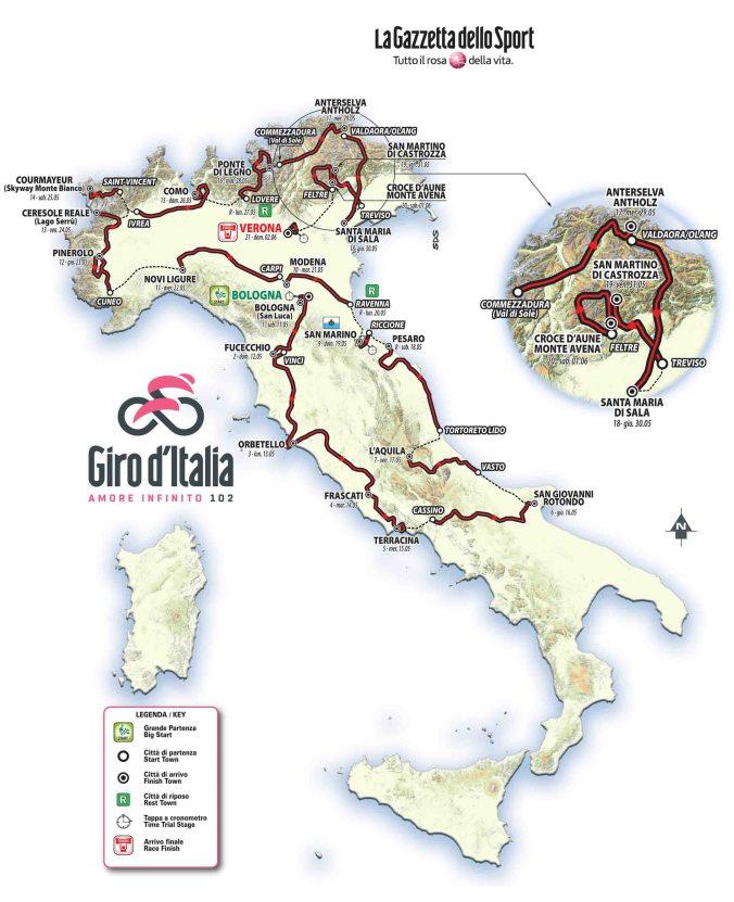Il percorso 2019 del giro d'italia