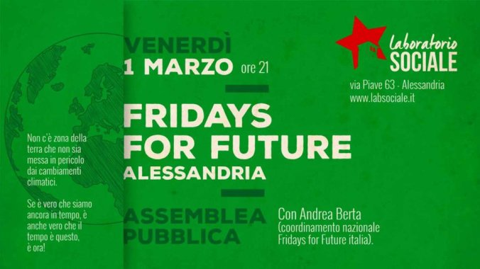 Il Laboratorio sociale di alessandria partecipa ai Fridays for Future