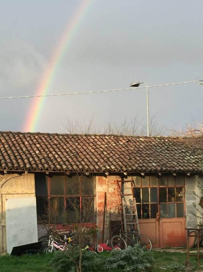 L'arcobaleno mattutino del 3 aprile 2019 sui colli tortonesi