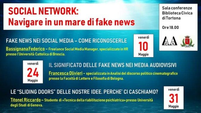 Locandina incontri fake news biblio tortona
