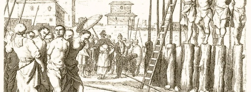 "Traitors impaled alive in the Kingdom of Sinhalē, 1638 The picture purports to depict  an event that occurred after the combined forces of the Dutch and Sinhalē captured Batticaloa  from  the  Dutch  in May  1638. ""Some  fifty natives who  had  murdered one  of his Majesty's  Courtiers were  impaled alive.  The rest  were  sold  for slaves  with  their  wives  and  children."" [Source: Michael Roberts. Sinhala Consciousness in the Kandyan Period 1590s to 1815. VijithaYapa publications, Sri Lanka, 2004]"