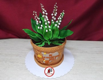 tort lacramioare ghiveci_Lily of the valley pot cake