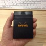RHODIA(ロディア)でとったメモを、ダイソーの『貼ってはがせるテープのり』で付箋紙にする。その後は、トラベラーズノート、モレスキンで一時保管!
