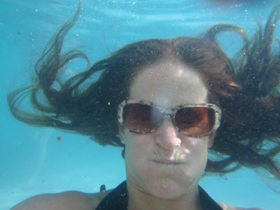 Heather underwater.