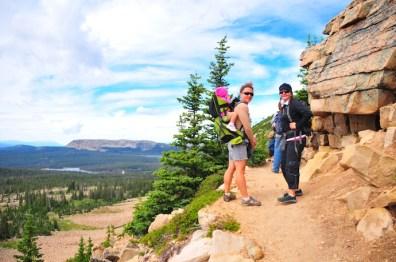 Kari and Tracy do the turn around on trail.