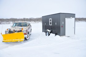 The plowtruck and the fish house. Don't call it an ice house.