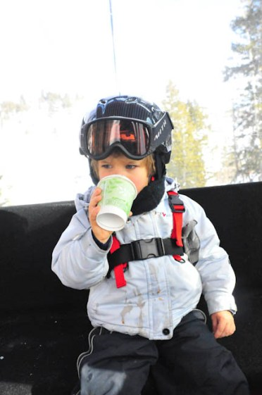 Hot chocolate on the ride down, a favorite part of the day.