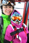 Up the gondola, with a smile and mommy