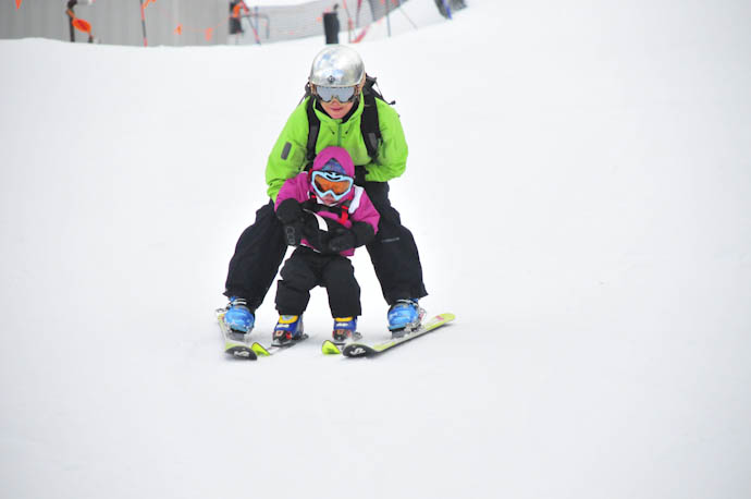 Tegan's very first ski run