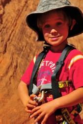 Ready to rock (climb). Needs his helmet.