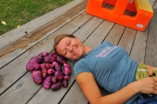 Kari with her purple potatoes.