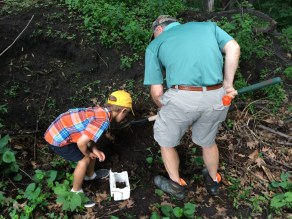 Grandpa Moe and Tory dig for worms