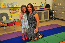 With her morning teacher, Ms Mazone