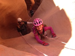 Tegan on the downclimb