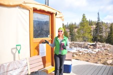 Tracy shows off the yurt