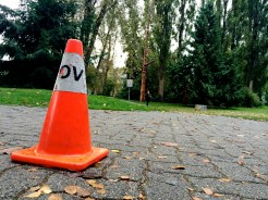 The race route was clearly marked with yellow tape and orange cones. Volunteers lined the path with time markers and signs for encouragement.