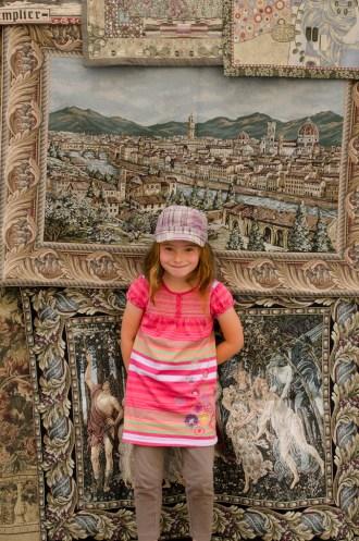 Jordan in front of Florentine tapestries