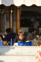 The Mrs enjoying the view at Chez Black on the beach at Positano