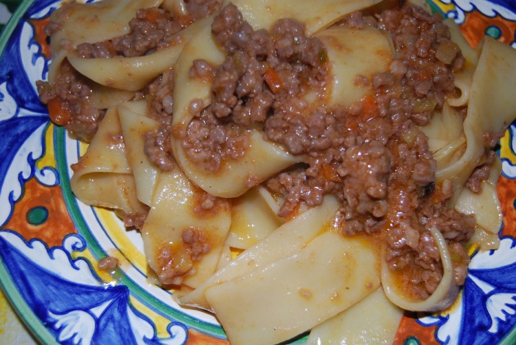 Homemade Tagliatelle<br>with Bolognese sauce