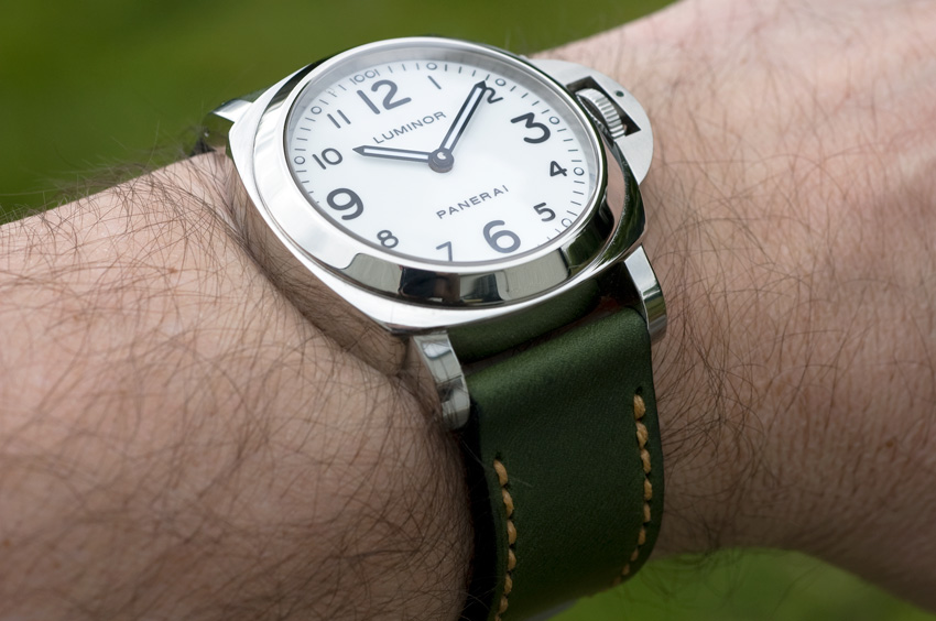 Emerald leather on my Panerai 114 - strap handmade by Toshi Straps
