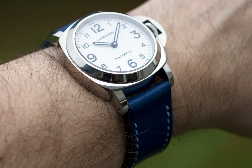 White dial Panerai 114 on a Lapis Blue leather watch strap