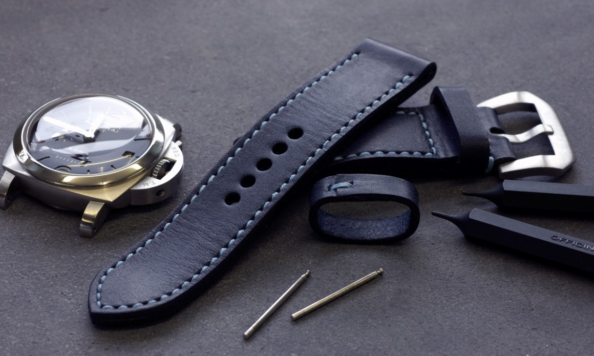 Typhoon leather strap with pale blue stitching made for my Panerai 233