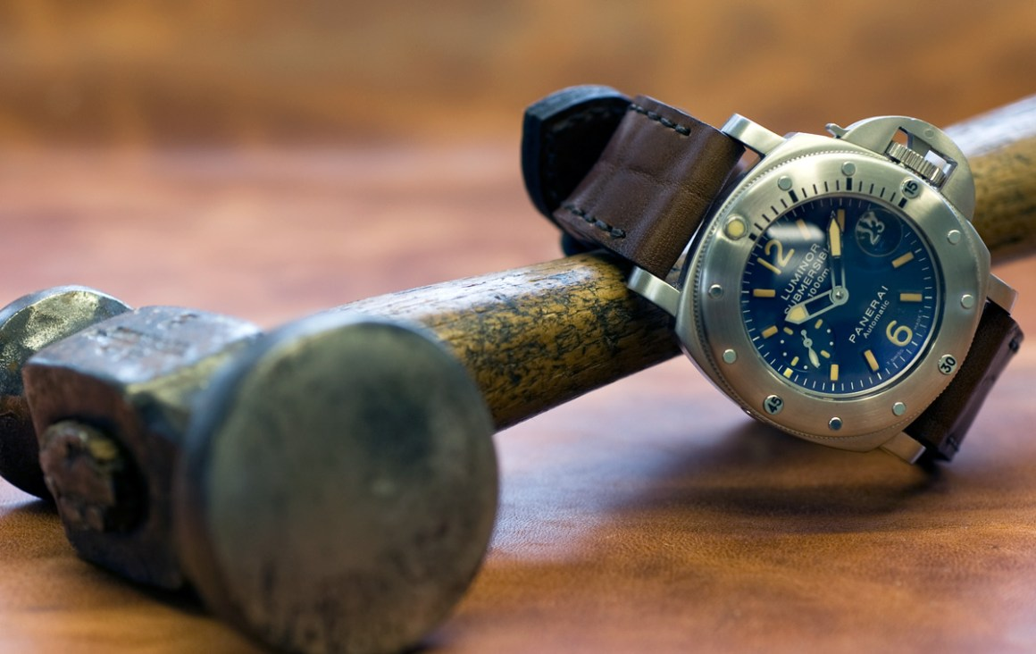 Heavily marked Heavy Horse leather was used to make this 24mm watch strap for my Panerai 87