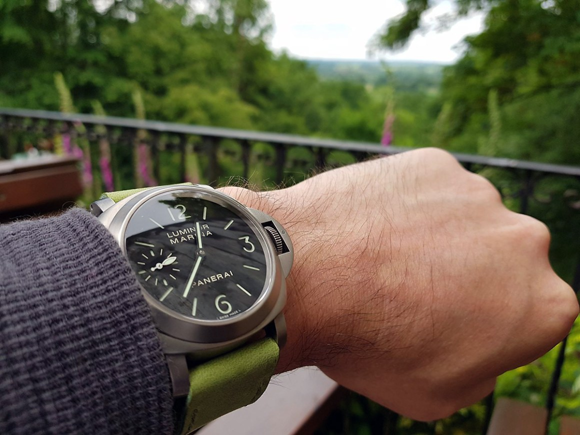 Panerai 177 on Lime leather with olive drab stitching. © Glen Richardson