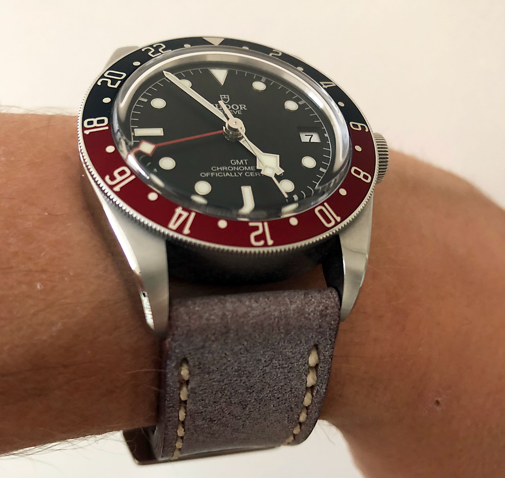 Tudor Black Bay GMT on Glacier leather with natural stitching. © Garry Wells