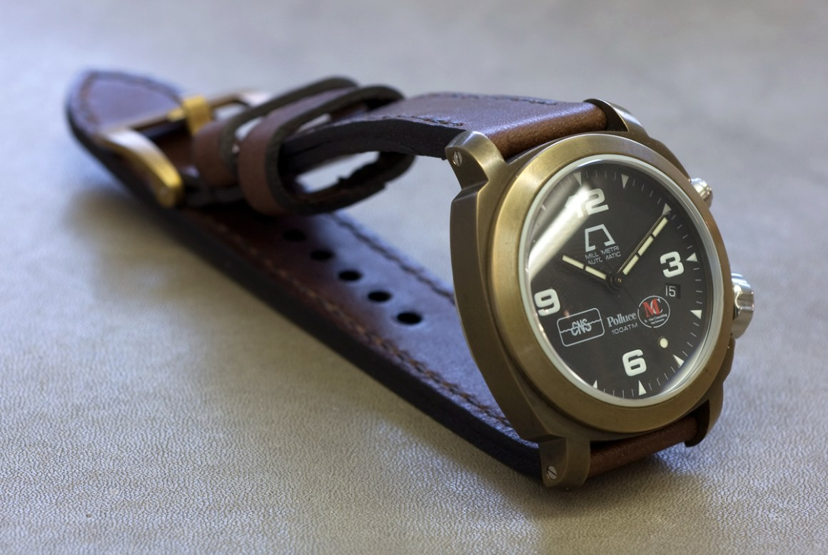 Anonimo Polluce bronze on a new strap - made from Espresso leather with dark brown stitching
