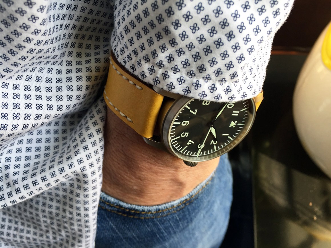 Stowa Flieger Classic on Lemon leather with white stitching. © Roy Railer