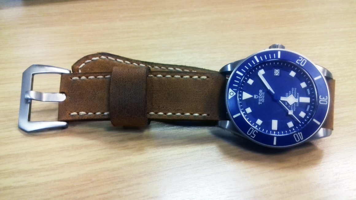 Tudor Pelagos on Old Timer leather with natural stitching. © David Palmer