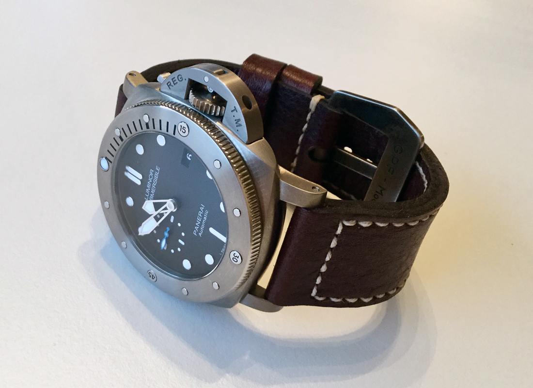 Panerai 1305 on Aegir leather with natural stitching. © Terry Wright