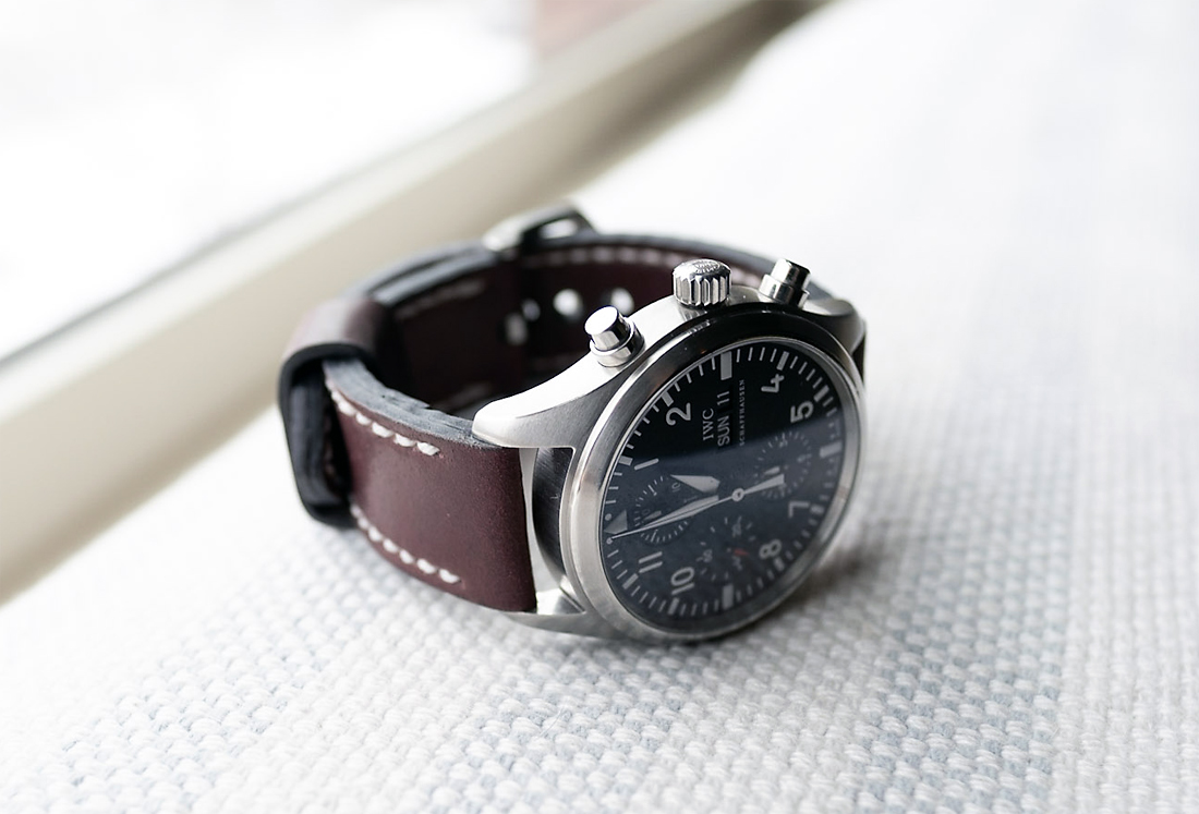 IWC 3717 on Burgundy shell cordovan leather with white stitching. © Cary Schatz