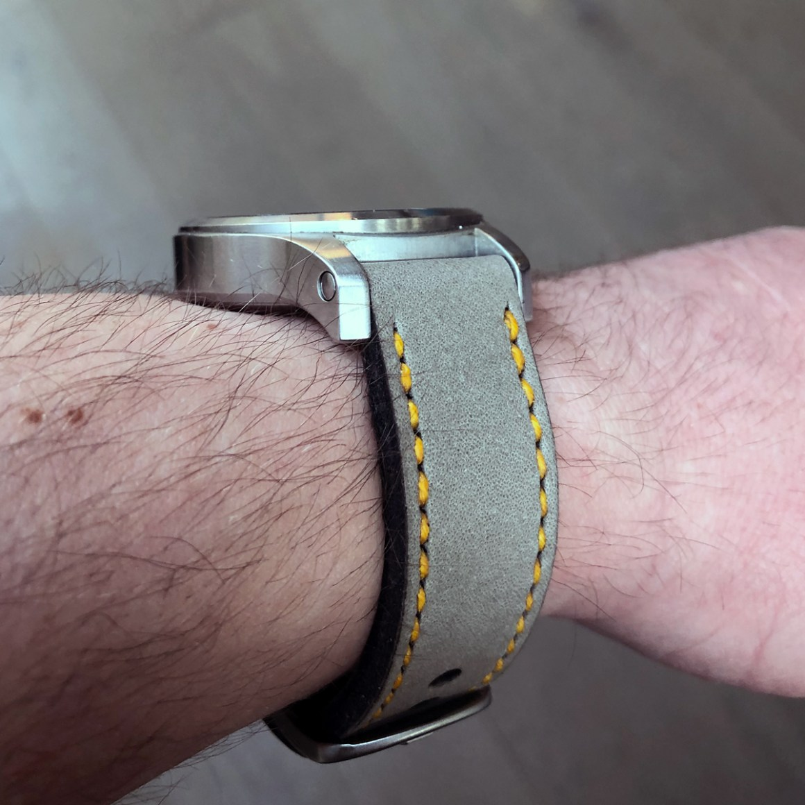Fortis B-42 on Military Grey leather with bright yellow stitching. © Rob Saville