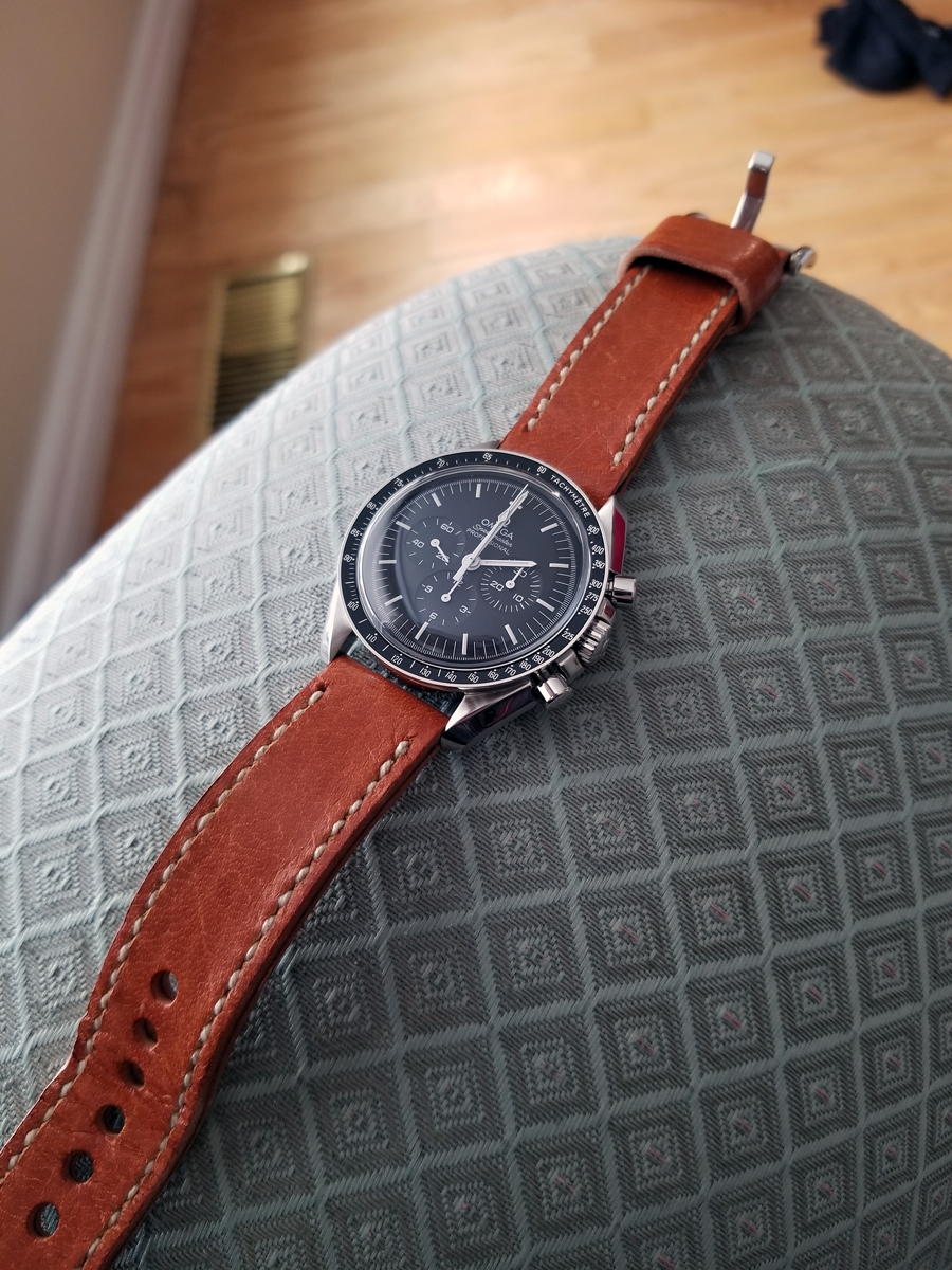 Omega Speedmaster Professional on Vintage Stag leather with natural stitching. © Scott Couling
