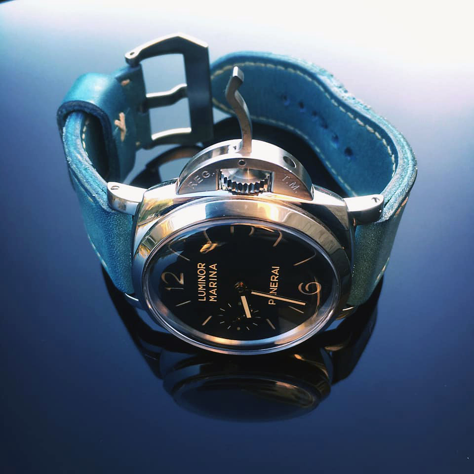 Panerai 422 on Sky Blue leather with natural stitching. © Mark Simpson