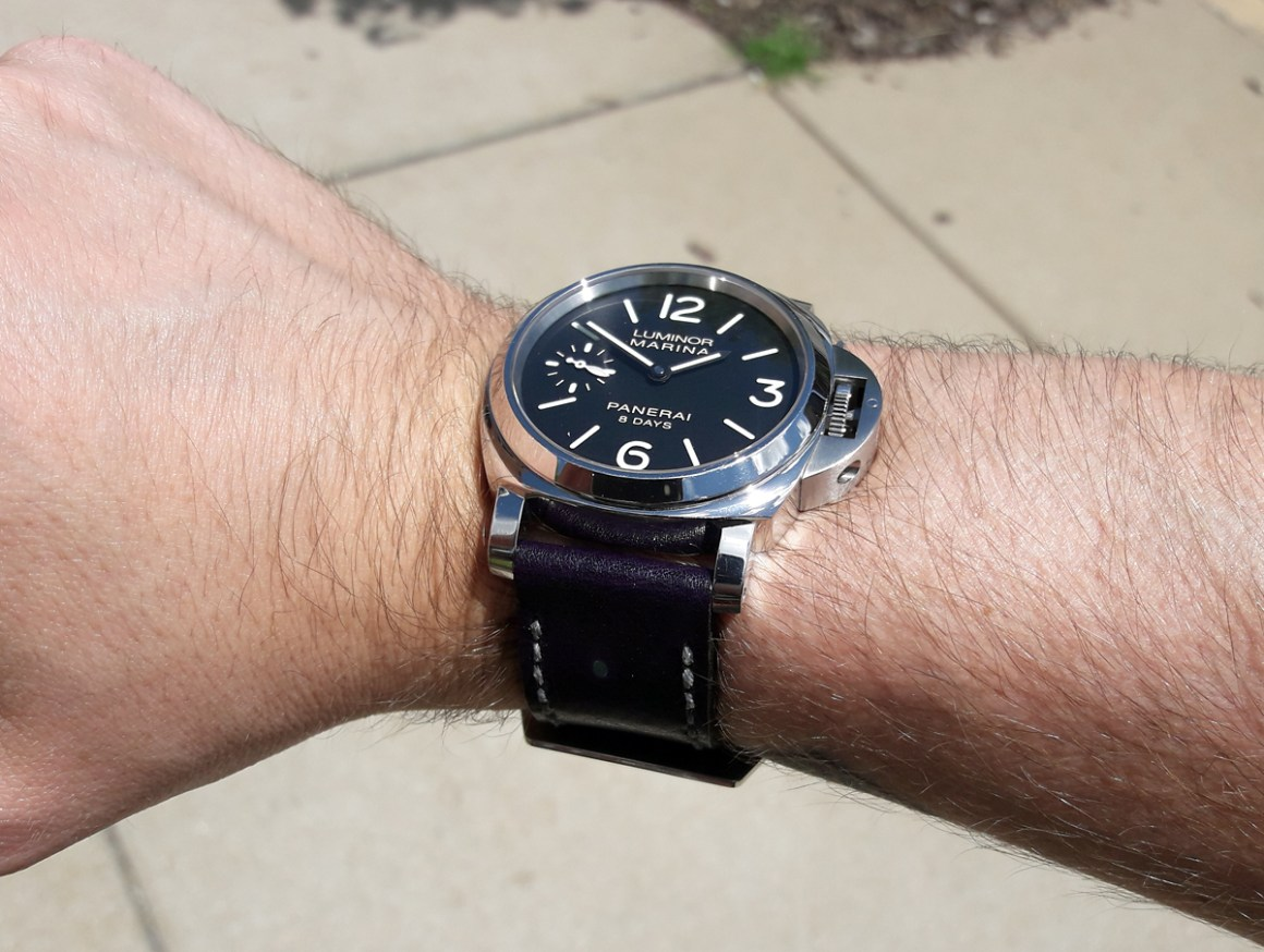 Panerai 510 on Violet leather with grey stitching. © Kyle Kenyon