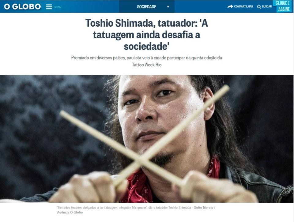 Capa da matéria no site do Jornal O Globo