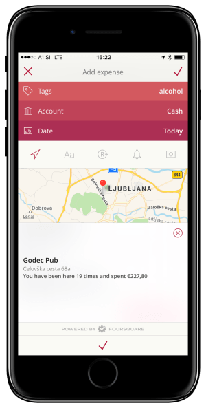 expense with foursquare location selected