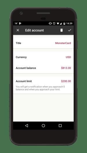 Adjust account balance, limit
