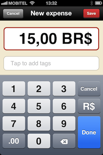 Select the foreign currency on the numeric keyboard