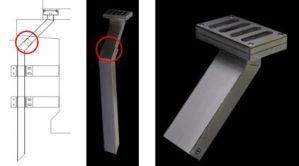 橋梁用排水桝角管と排水桝角管の接続例